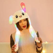 Children Cute Hat with Rabbit Ear Moving Airbag Cap with Colorful Light for Girls Birthday Gift(China)