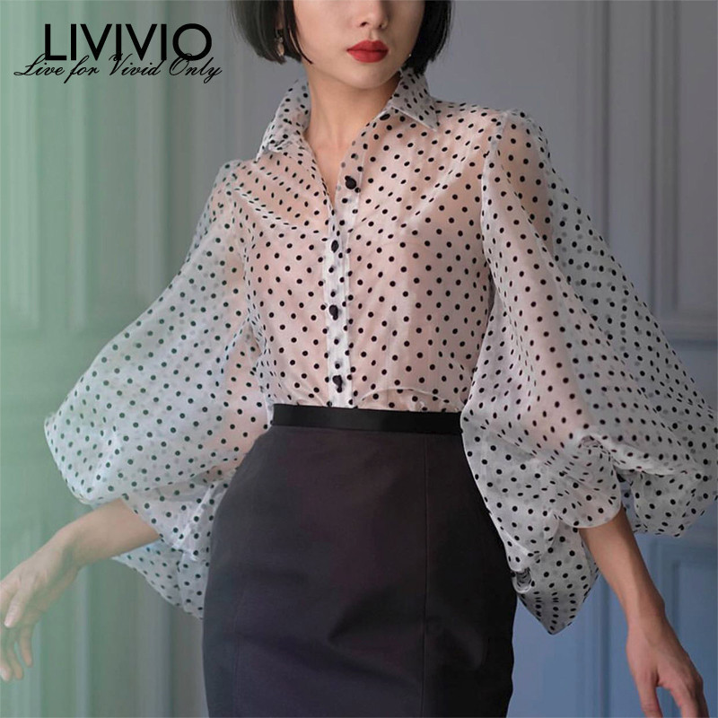 [LIVIVIO] Vintage Polka Dot Long Puff Sleeve Womens Tops And Blouses Plus Size Sheer Shirts 2019 Summer Clothes Ladies Korean