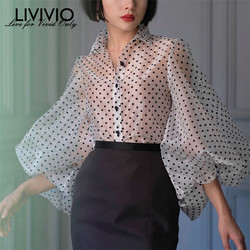 [LIVIVIO] Vintage Polka Dot Long Puff Sleeve Womens Tops and Blouses Plus Size Sheer Shirts 2019 Summer Clothes Ladies Korean 1