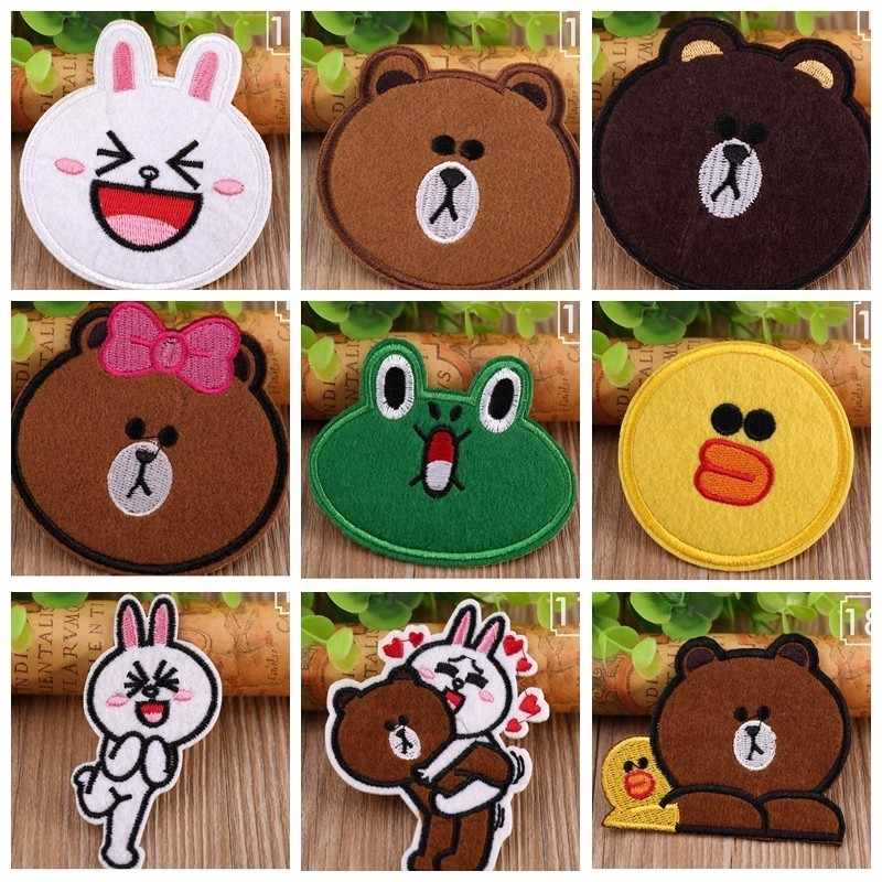 Wholesale High-quality Cartoon Frog Embroidered Patches Iron Rabbit Appliques for Clothes Expression Badges Cute bear Stickers