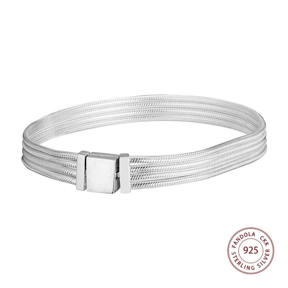 CKK 2019 nouveaux réflexions bracelets porte-bonheur Argent 925 Argent Sterling bracelets bracelets pour femme bijoux fins pulseras mujer