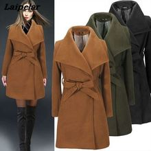 2018 Autumn and winter hot European American womens woolen coat Slim long female Laipelar