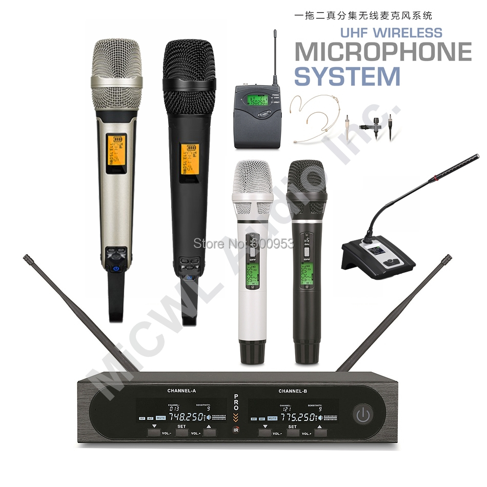MiCWL SKM9000 2 Dual Channel Stage Performance Digital Wireless Handheld Headset Lavalier Microphone System