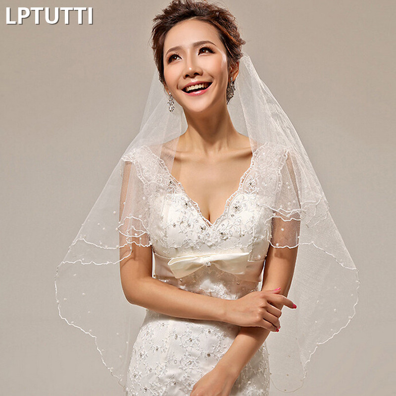 LPTUTTI Single Layer White Pearl New Mantilla Wedding Marry Headdress Accessories Long Cathedral Bridal Wedding Veil With Comb