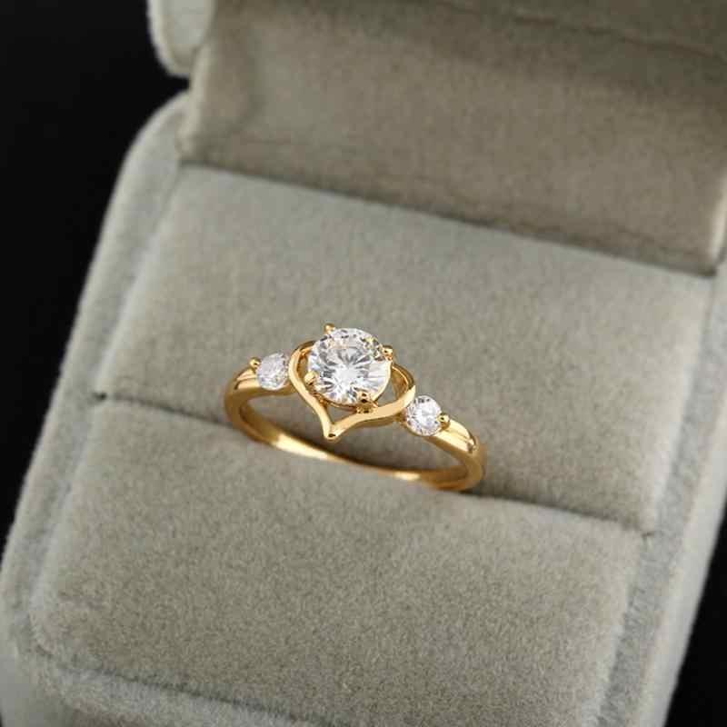 2019 Novo Chegada de Bronze Micro Pave Amor Coração Oco Senhor Doce Anéis para Mulheres Meninas Do Amante Da Moda Jóias Dos Namorados presente do dia
