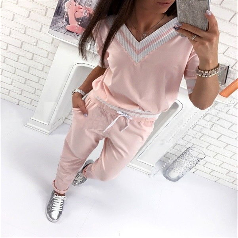 Stylish 2Pcs Women Ladies V Neck Striped Tops High Waist Pants Trousers Tracksuit Hoodies Sweatshirt Sets Outwear Casual Suit