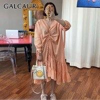 GALCAUR Plaid Striped Patchwork Casual Women Dress V Neck Three Quarter Sleeve Ruched Drawstring Dresses Female Summer Fashion