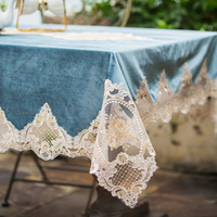 Blue Tablecloth Elegant Lace Table Runner Dining Room Restaurant Table Setting Wedding Holiday Event Catering Tablescapes P32