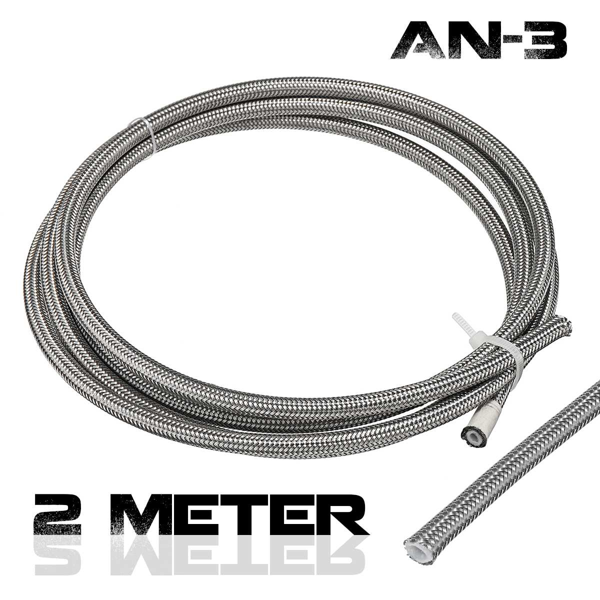 Hose AN3 An-3-Brake Fuel-Line Stainless-Steel Braided 3AN 2m PTEF title=
