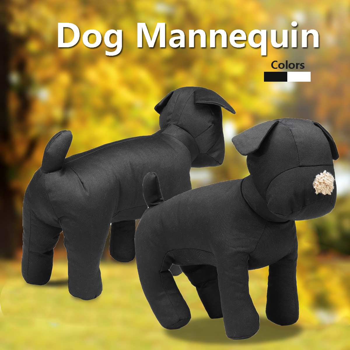 Display Pet Toy Dog Mannequin Cotton Stuffed Model Clothing Apparel Shop Collar Black/White Adjusted Leg Poses For Retail Store