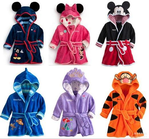 Flannel Warm Bathrobe Soft Sleepwear Cartoon Animal Hoodie Robe Children Cute Nightwear Home Wear 90code-130code