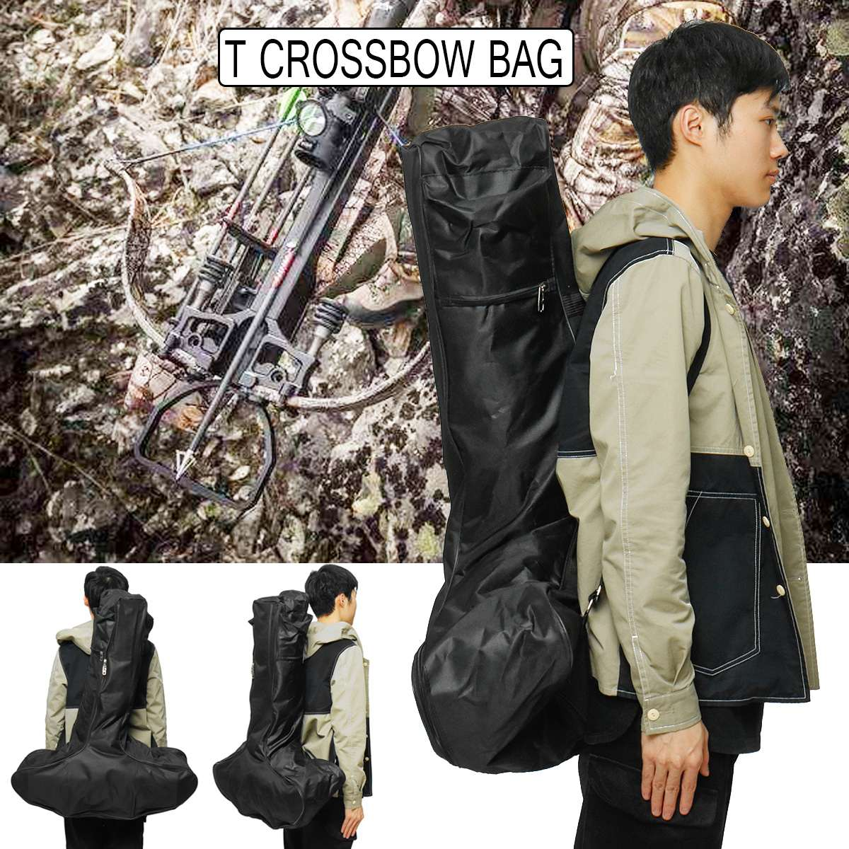 Hunting Y Shooting Portable Lightweight T Shaped Crossbow Bag Case Backpack Pouch Gun Scabbard For Outdoor Hunting