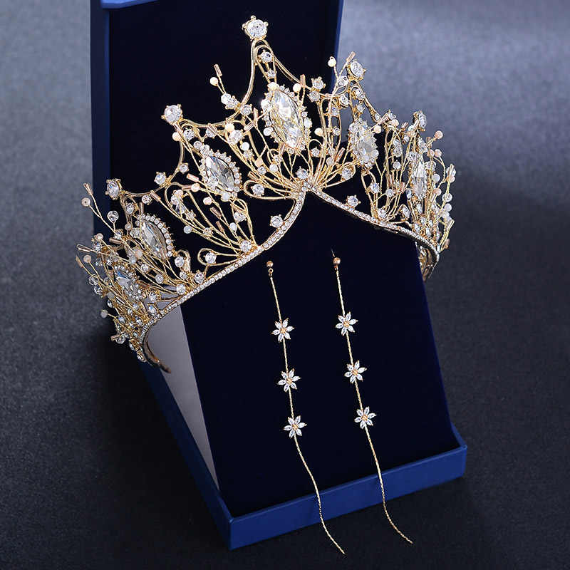 Bridal Big Luxury Crystal Crown Headband Wedding Girls Tiara Bride Hair Accessories Head Jewelry Gold Headpiece Baroque Princess