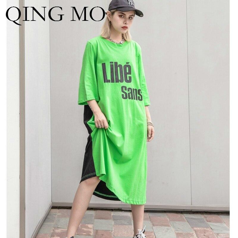 QING MO femmes noir lettre impression robe femmes vert O cou à manches courtes robe femmes été mi-mollet robe ZQY393