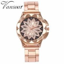 Best Selling Fashion Women Rose Gold Flower Rhinestone Watch Luxury Casual Female Quartz Watch