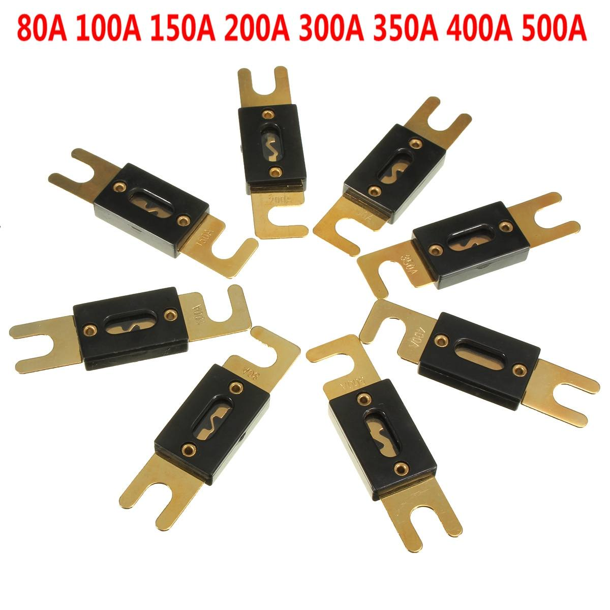 8Pcs Fuse 350A AMP ANL Type Gold Plated Blade Fuses For Auto Car Stereo UE