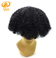 SSH Mens Toupee French Lace Front Poly Hair Replacement Bleached System Hairpiece Afro Curl
