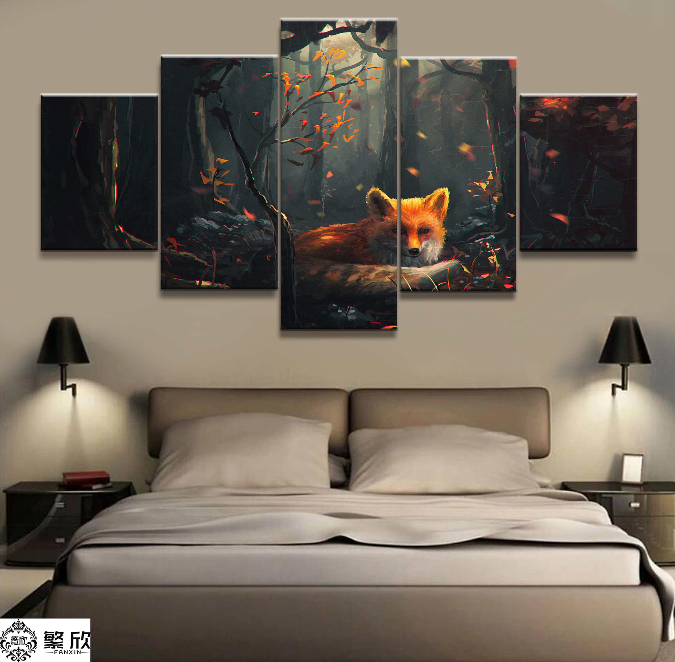 Home Decor Modular Canvas Picture 5 Piece Painting Forest Fox Poster Art Wall For Wholesale