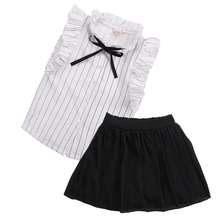 Pudcoco Kids Clothes Baby Girls Summer Outfits White Striped Blouse Black Skirt Formal Suit