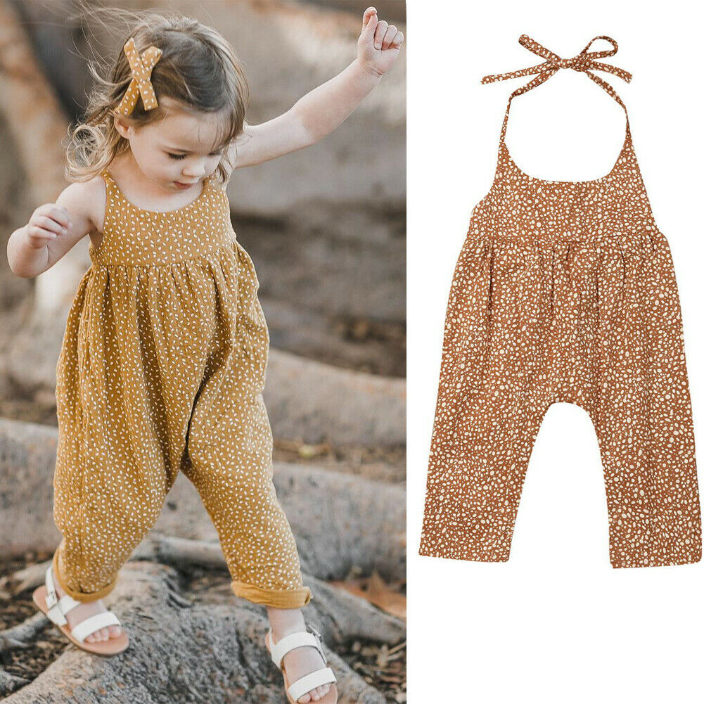 2019 Newest Newborn Infant Baby Girl Cute Cotton Backless   Romper   Floral Dot Jumpsuit Strap Pants Overalls