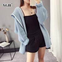 VGH Autumn Winter Jacket For Women Hooded Long Sleeve Open Stitch Loose Female Jackets Fashion Casual Sweat Clothes New