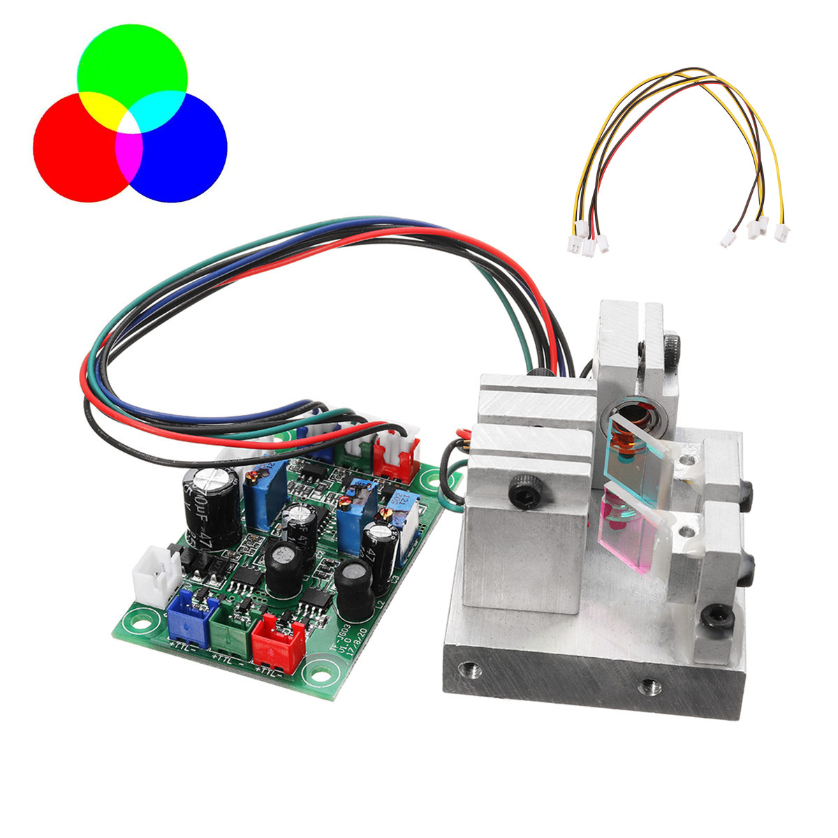 RGB 300mW White Laser Module 638nm+520nm+450nm With TTL Driver Board Modulation Temperature Protection Precision Science