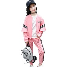 лучшая цена Girls suit children's clothing spring and autumn new cotton kids clothes ladies wooden ear sports striped shirt + pants 3-12