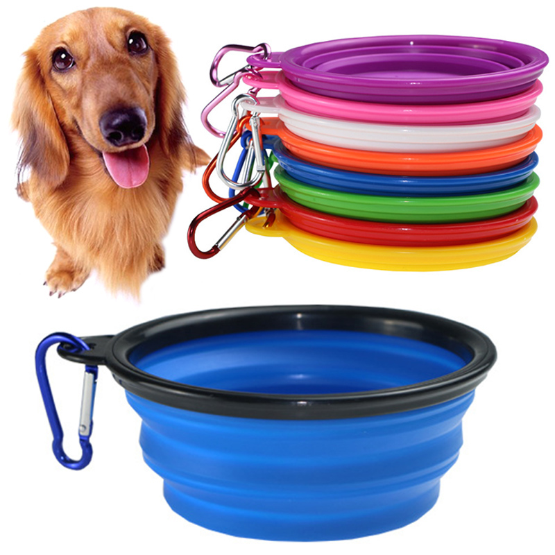 Dog Bowl Portable For Dog Travel Bowl Pet Outfit Pet Accessories Feeder Utensils Small Mudium Dog Silicone Folding 1PC