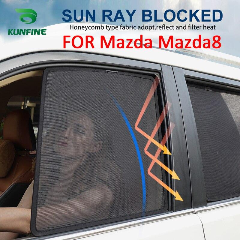 4 pièces/ensemble magnétique voiture fenêtre latérale pare-soleil maille ombre aveugle pour Mazda8 Mazda 8 voiture fenêtre Curtian noir