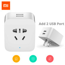Original Mijia Xiaomi Smart Socket Plug WiFi Control Power Count Timer Switch Dual USB socket Smart home use power socket(China)