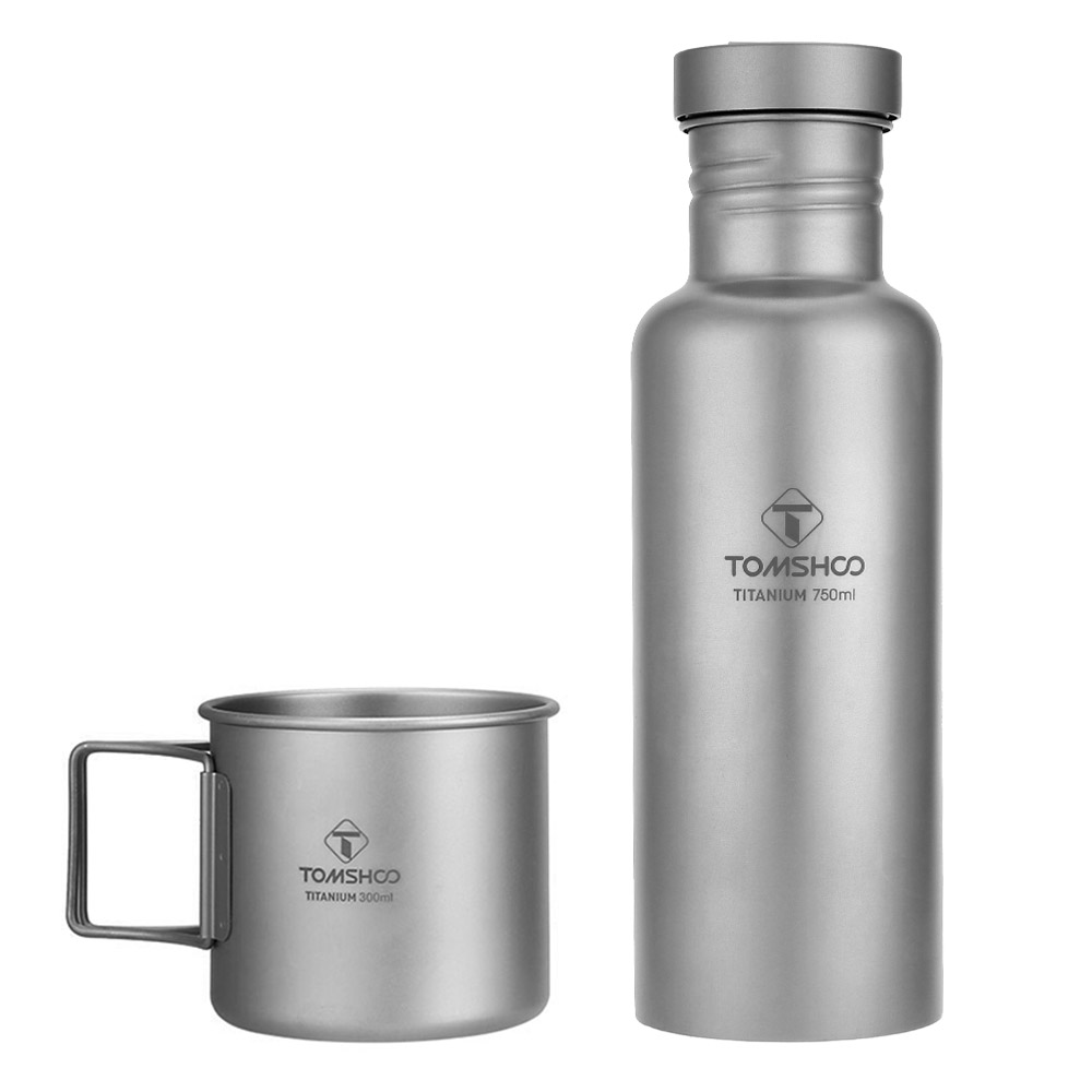 TOMTOP Outdoor Hking Sports Tableware Sets 300ml Titanium Cup and 750ml Titanium Water Bottle Water Cup Lightweight and Durable