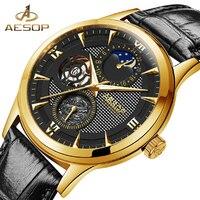 Aesop Fashion Casual Horloge Mannen Automatische Mechanische Gold Horloges Polshorloge Mannelijke Klok Relogio Masculino Hodinky Doos 9019-in Mechanische Horloges van Horloges op