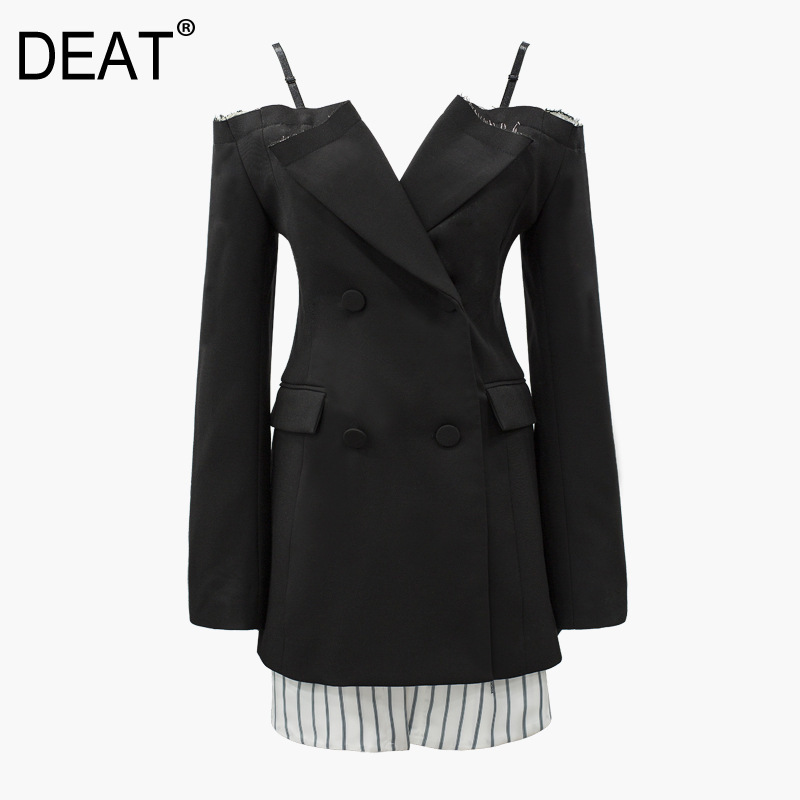 DEAT 2019 new summer thin clothes straps striped patchwork single blazer vintage tassels double breasted female Office WF63401L