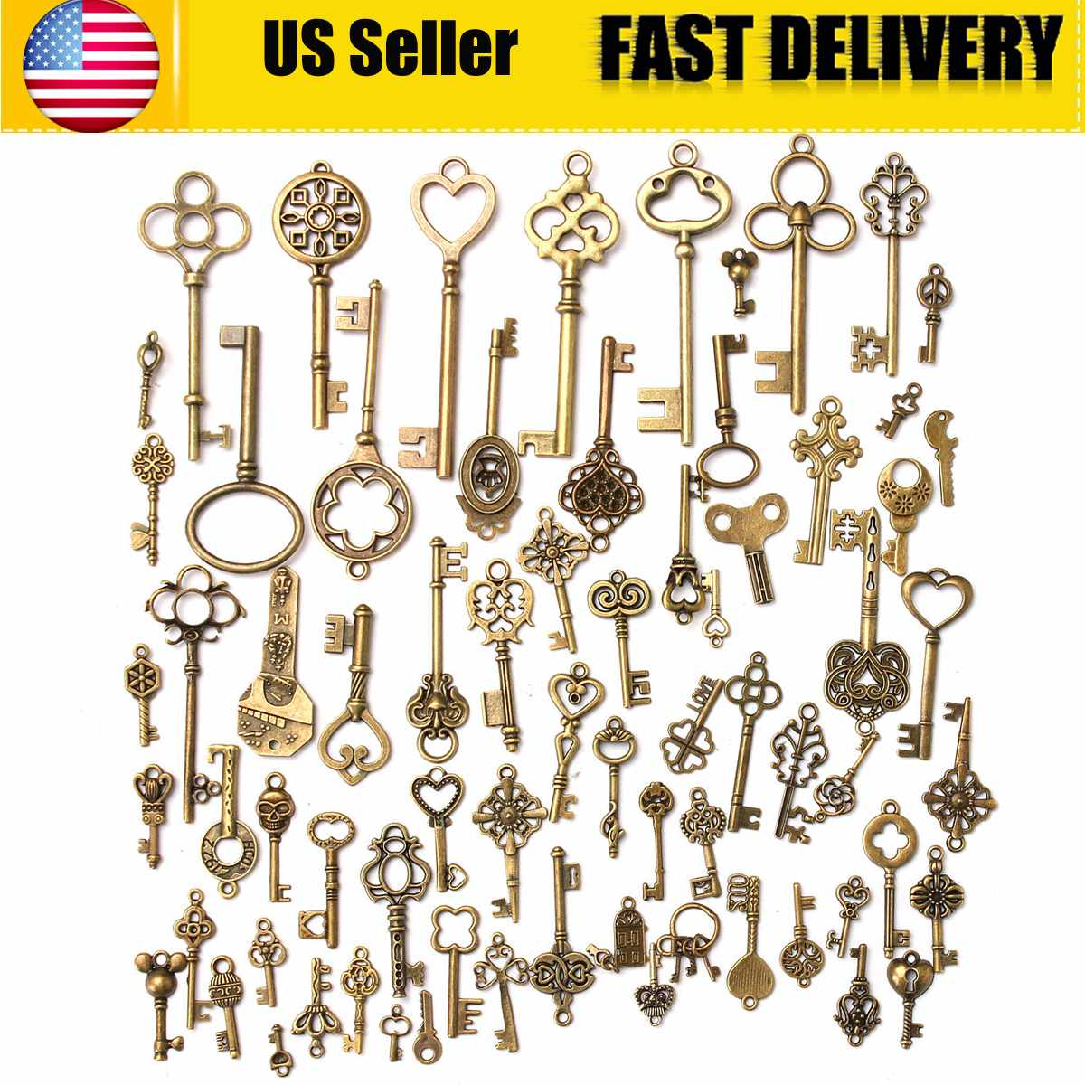 70Pcs Vintage Antique Old Look Bronze Skeleton Key Fancy Heart Bow Pendant