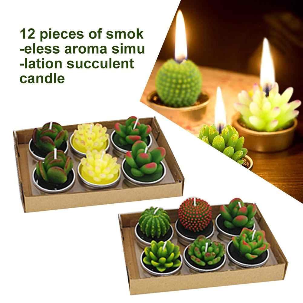 12pcs Succulent Cactus Shape Aromatherapy Candles Gift Wedding Decor Valentine's Day Birthday Candle Scented Candle Home Decor