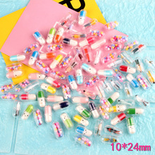 Capsule Simulated Kawaii Bulk 3D Resin CabochonDIY Craft Decoration Spcrapbooking Accessories Charm 10*24mm