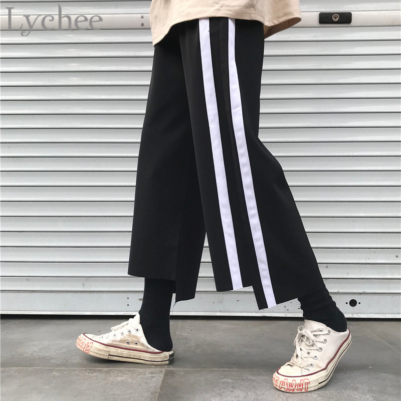 Lychee Summer Spring Loose High Elastic Waist Streetwear Stripe Patchwork Female   Wide     Leg     Pants   Women   Wide     Leg     Pants
