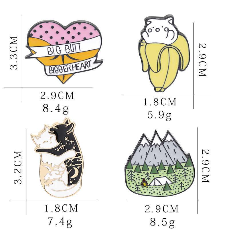 ファッションかわいいピンコレクションブローチ動物フルーツナマケモノ恐竜猫レモン桃サボテンキャンプかわいいブローチラペルピン