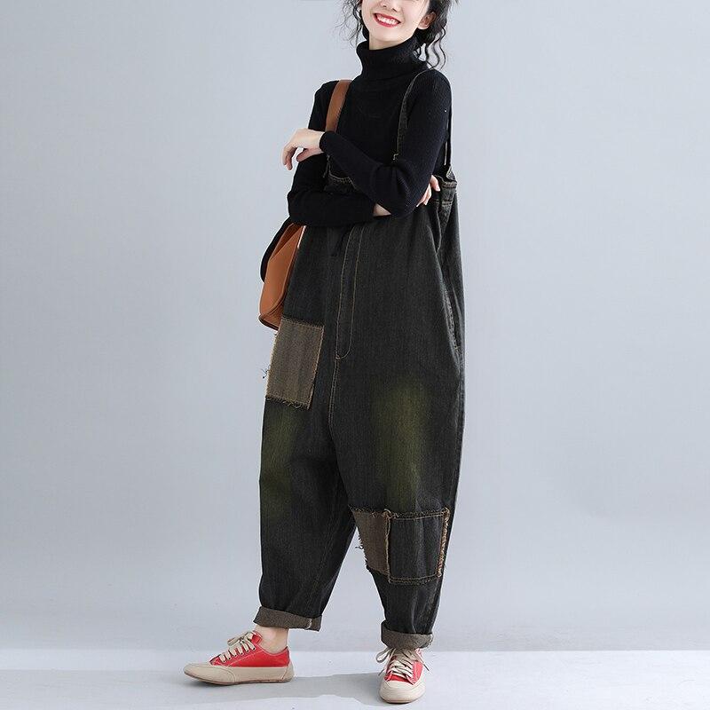 Plus Size Jeans Woman Vintage Autumn Winter Jumpsuits Patchwork Pockets Zip Design Black Jeans Mid Waist Denim Harem Pants