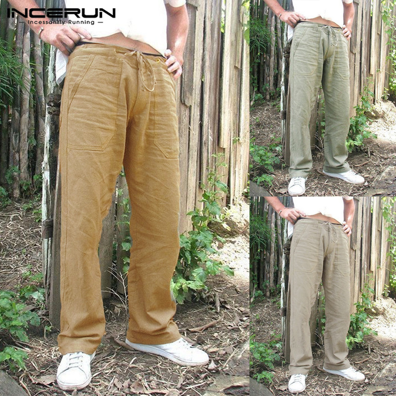 INCERUN Casual Men Straight Pants Cotton Loose Solid Ethnic Style Trousers Men Drawstring Pockets Pants Men Pantalon Hombre 2020