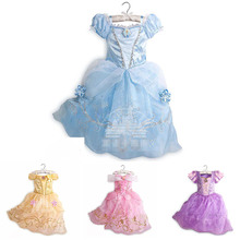 Summer Princess Dress for Baby Girls Cinderella Aurora Tea Length Party Clothes Kids Rapunzel Belle Cosplay Costume Snow White pamaba 8 pcs set cinderella rapunzel princess accessories knit belle cosplay princess jewelry party supplies earrings necklaces