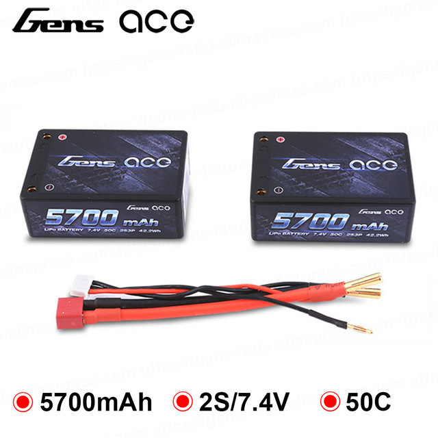 Gens ace Lipo Battery 2S3P 5700mAh Lipo 7.4V Battery Pack 50C Battery for 1/10 Car 1/8 HPI BSD RED CAR RC Car Car Accessories