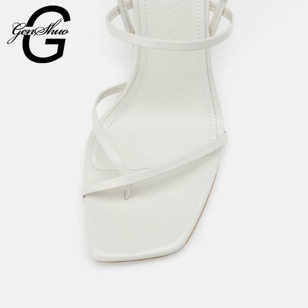 GENSHUO White High Heels Sandals For Summer Narrow Band High Heel Vintage Square Toe Heel Sandals Concise Ladies Shes For Party