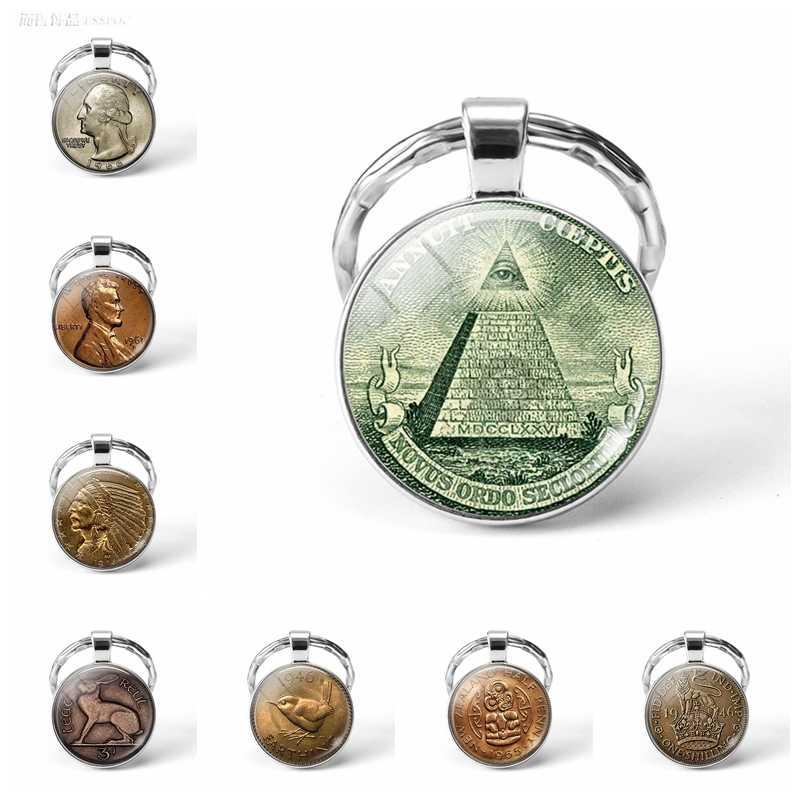 Eye of Providence Cổ Điển Keychain Một Đồng Xu Đô La Keychain Keyring Ai Cập Kim Tự Tháp Vòng Chìa Khóa Móc Chìa Khóa