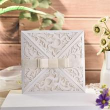 10pcs/lot European Square White Invitation Card For Wedding Elegant Delicate Carved Lace Cards With Bowknots