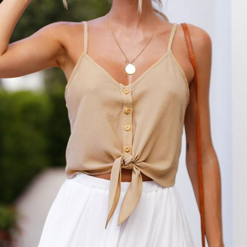 Sexy Women Crop   Tops   Women strappy waistcoat Fashion Spaghetti Strap Camisole Button Blouse V Neck White/Navy/khaki   Tank     Tops