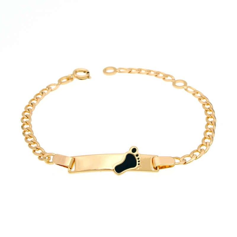 82eec9822bf9 Baby Gold Bracelets Kids Jewelry Baptism Pulsera Bebe Pulseira Bracelete  Bracciali Nina Armband Teen Girl Child
