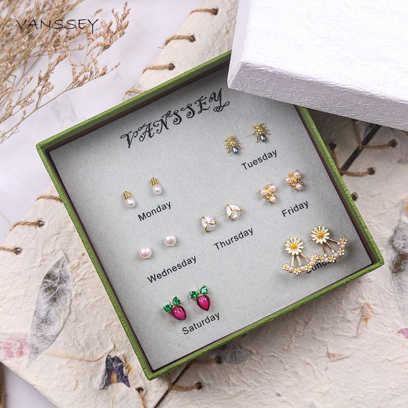 Vanssey mode bijoux OL fleur marguerite radis naturel perle boucles d'oreilles ensemble accessoires de mariage femmes pour 2019 nouveau