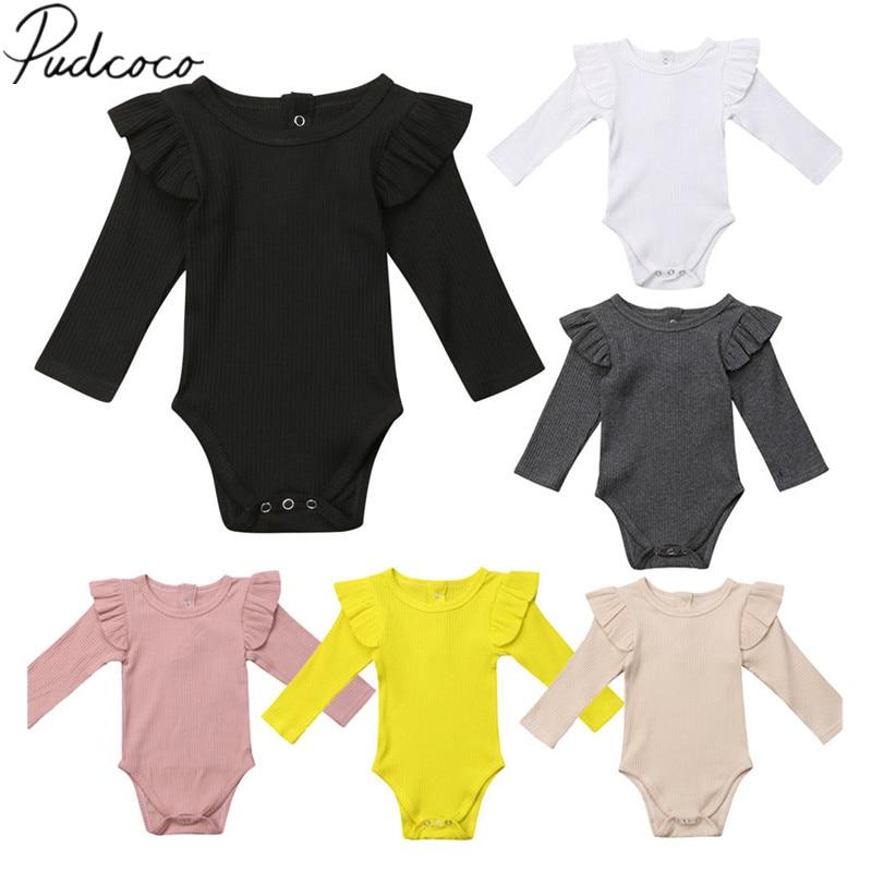 2020 novo bebê recém-nascido crianças meninas meninos outono causal bodysuits babados manga longa sólido quente macacões outfit 0-24m