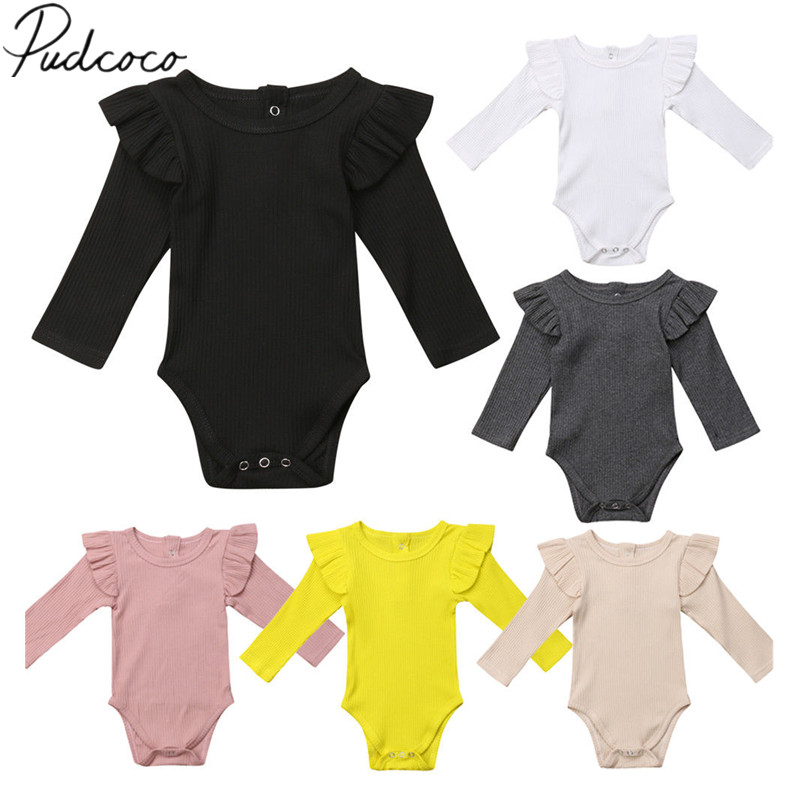 2020 Brand New Newborn Infant Kids Baby Girls Boys Autumn Causal Bodysuits Ruffles Long Sleeve Solid Warm Jumpsuits Outfit 0 24M